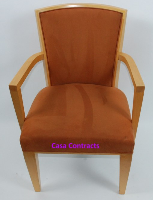 HBF Side Canteen Chair in Tan Fabric Wooden Frame 1a - Copy