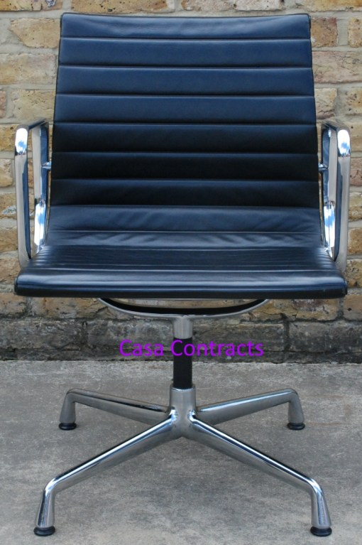 Vitra Eames EA108 Black Ribbed Leather Aluminium Group Chair 1