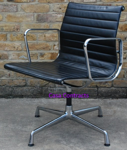 Vitra Eames EA108 Black Ribbed Leather Aluminium Group Chair 6