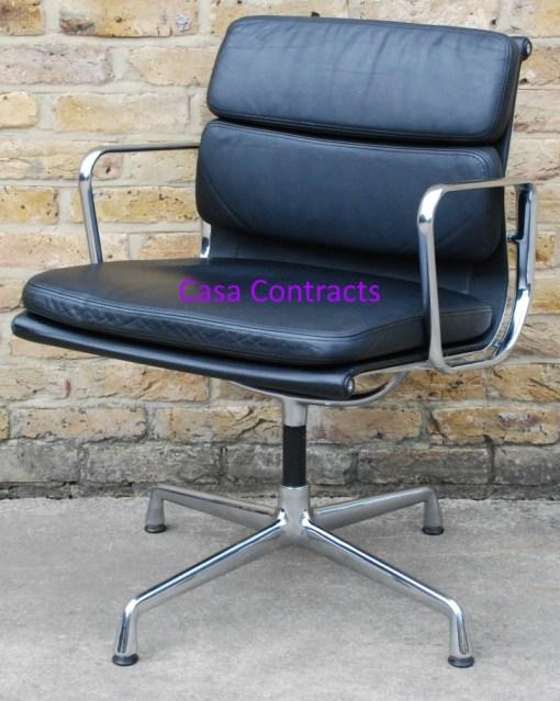 Vitra Eames EA208 black leather Soft Pad Chair 7