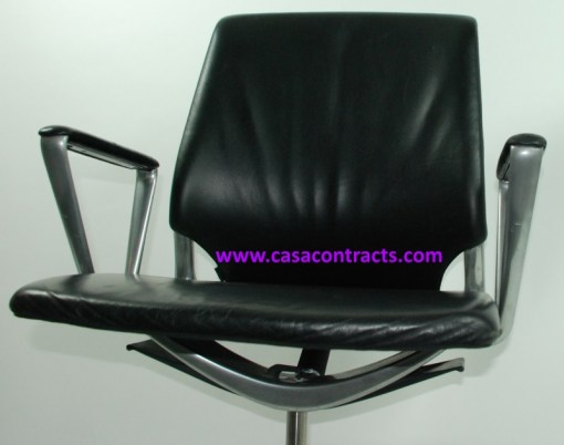 Vitra Meda chair leather fixed arms 7b