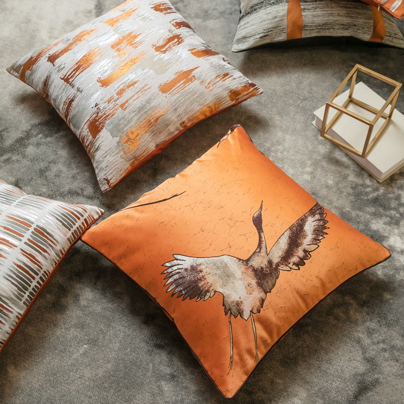 burnt orange one sided pillow cover