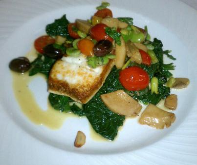 Halibut, fava beans, porcini mushroom over spinach