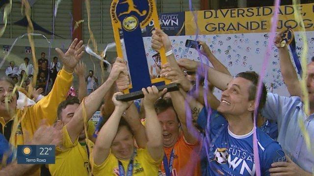 Resultado de imagem para Brasil segura reação da Argentina e conquista mundial de futsal down pela 1ª vez