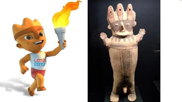 Milco, mascote do Pan-Americano, ao lado de um cuchimilco, artefato da cultura chancay - Reprodução