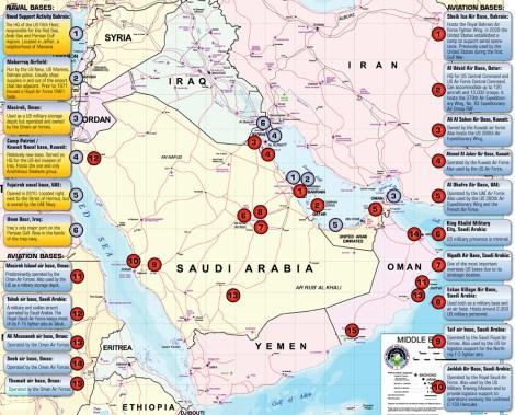Algumas das bases militares dos EUA no Médio Oriente