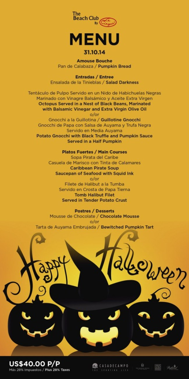 halloween special menu - beach club 2014-02