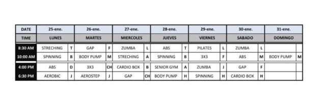 Classes schedule Casa de Campo