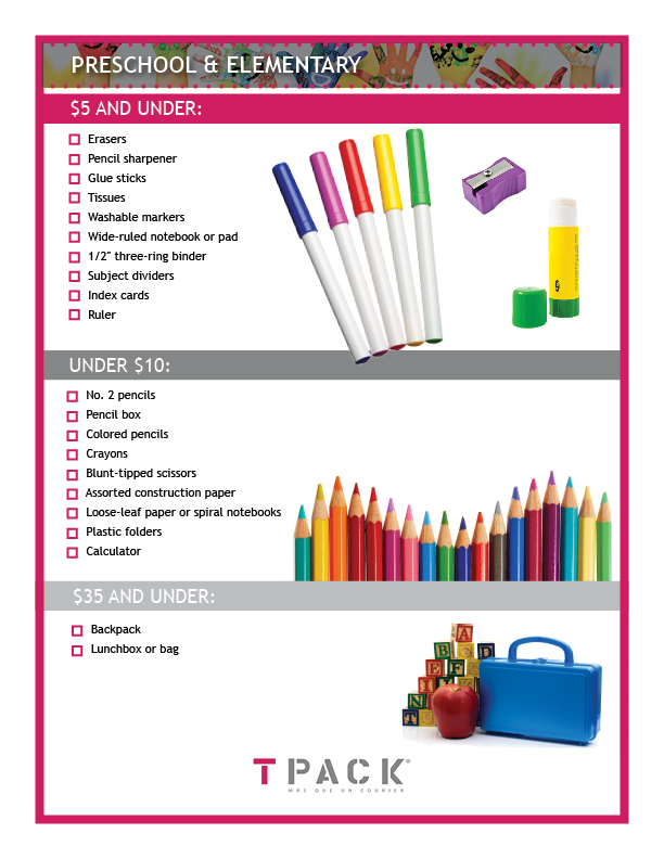 Preschool & Elementary Checklist