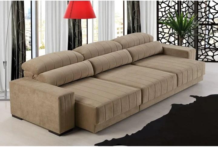 Sofa Com Chaise Retratil Sofá 3 Lugares Retrátil E Reclinável
