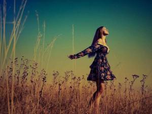 freedom hippy girl in fields