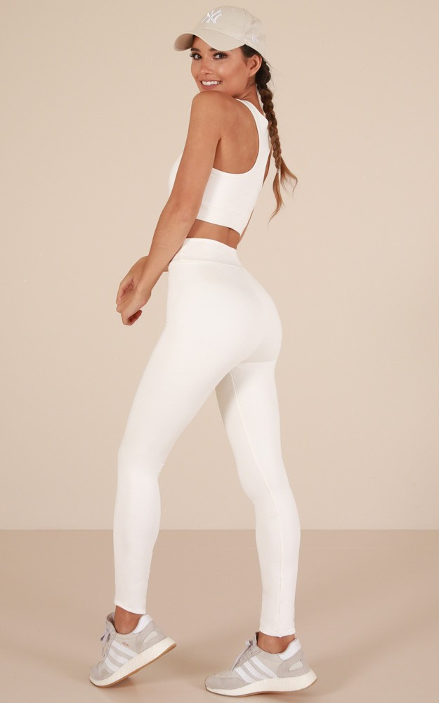 chic activewear tights white