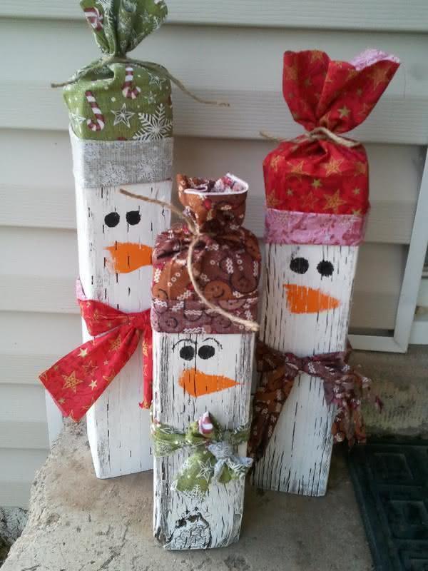 Boneco de neve de madeira. (Foto: Divulgação)