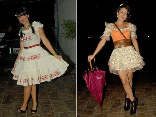 Vestidos caipiras com rendas e babados.