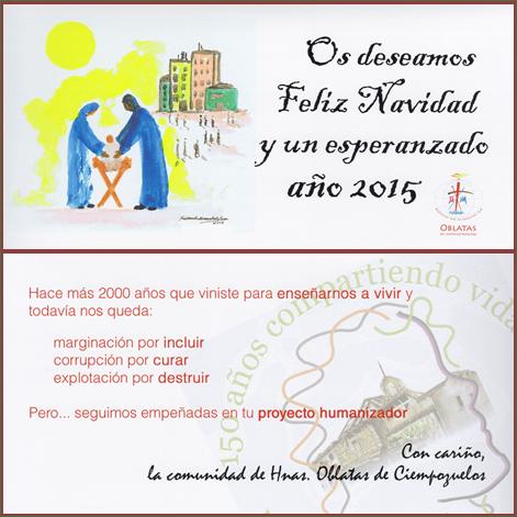 Felicitación de Navidad 2014 Hnas. Oblatas de Ciempozuelos