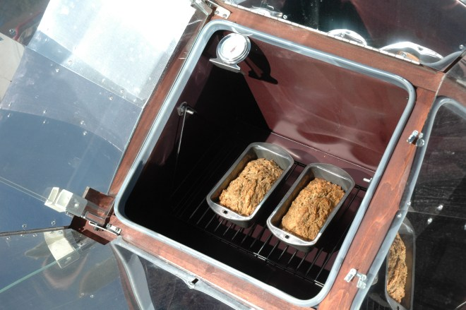 Mini loaves of banana bread cooked in the solar oven.