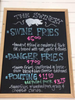 The Swinery's French Fry menu