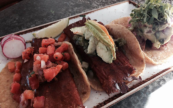 Pork, zucchini, and ahi tacos at Puesto.