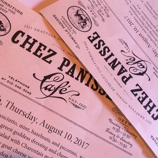 The menu at Chez Panisse changes daily to highlight the freshest ingredients.