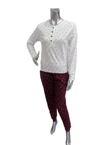 SISTERS pigiama donna invernale modello serafino in caldo cotone