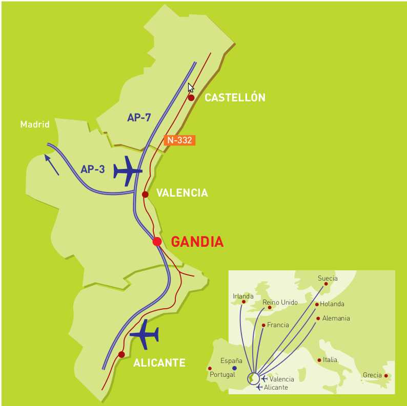 Many Budget Airlines operate regular flights to Gandia from many UK & European Airports