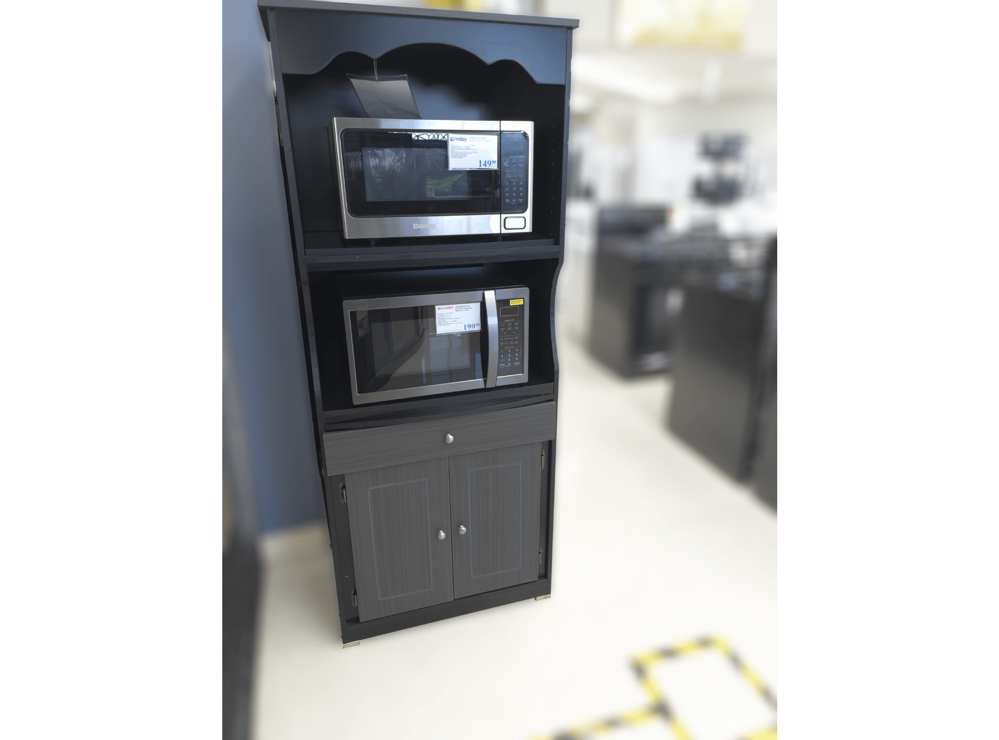 tall microwave cart in grey black