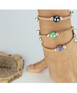 Bracelet en liège ajustable avec perle en céramique peinte