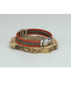 Bracelet trio liège et pastille motif géométrique