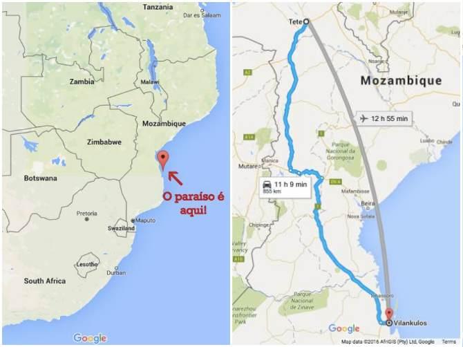 Mapa localização de Bazaruto e mapa do nosso trajeto