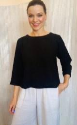 Three quarter sleeve blouse Black £95