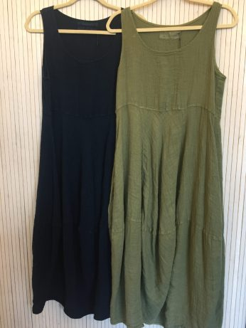 Dress 100% linen £159 in Green & Navy