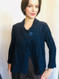 Crinkle Jacket with single button. 60% linen 40% silk £169