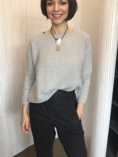 Cotton Sweater Lark, also in dark grey, light green, pale blue, shell pink, mustard & Navy £80