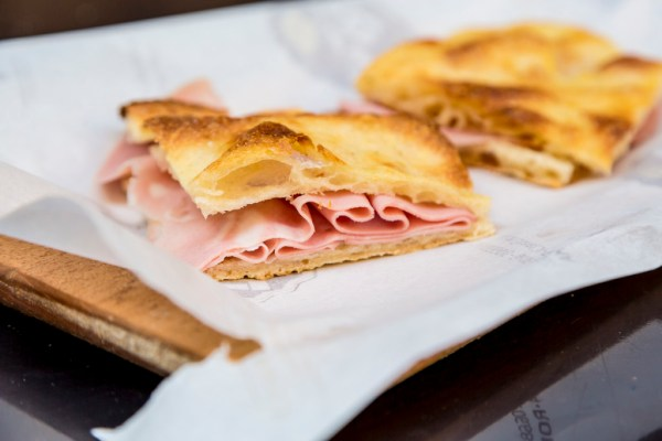 pizza bianca and mortadella