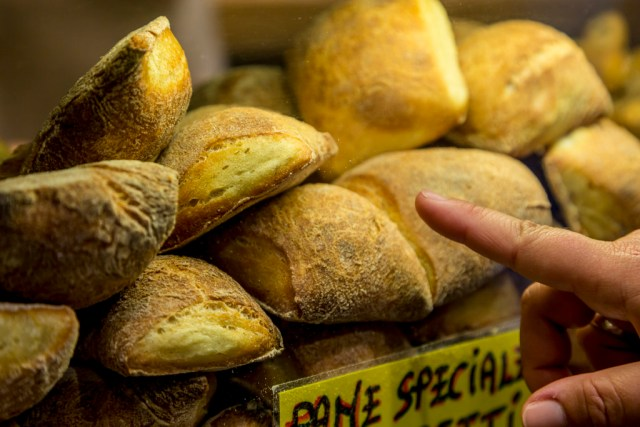Sourdough rolls at Antico Forno Roscioli bakery in Rome