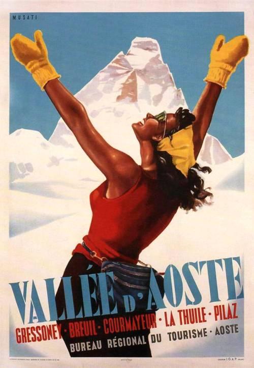 Val d'Aosta Skiing poster 1950