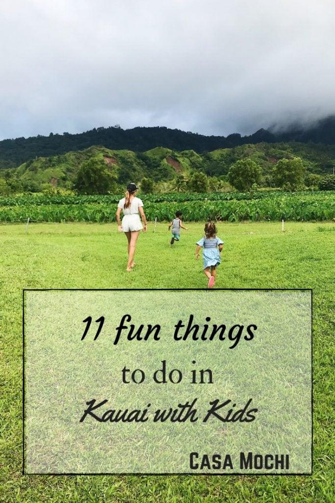 Running through a grass field in Kauai; Kauai with kids