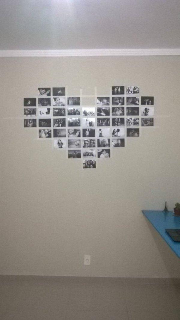 Tutorial coração de parede com fotografias