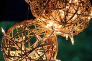 decoração casamento barbante bolas luminária