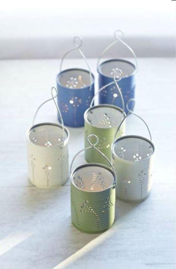 decoração casamento luminária lata