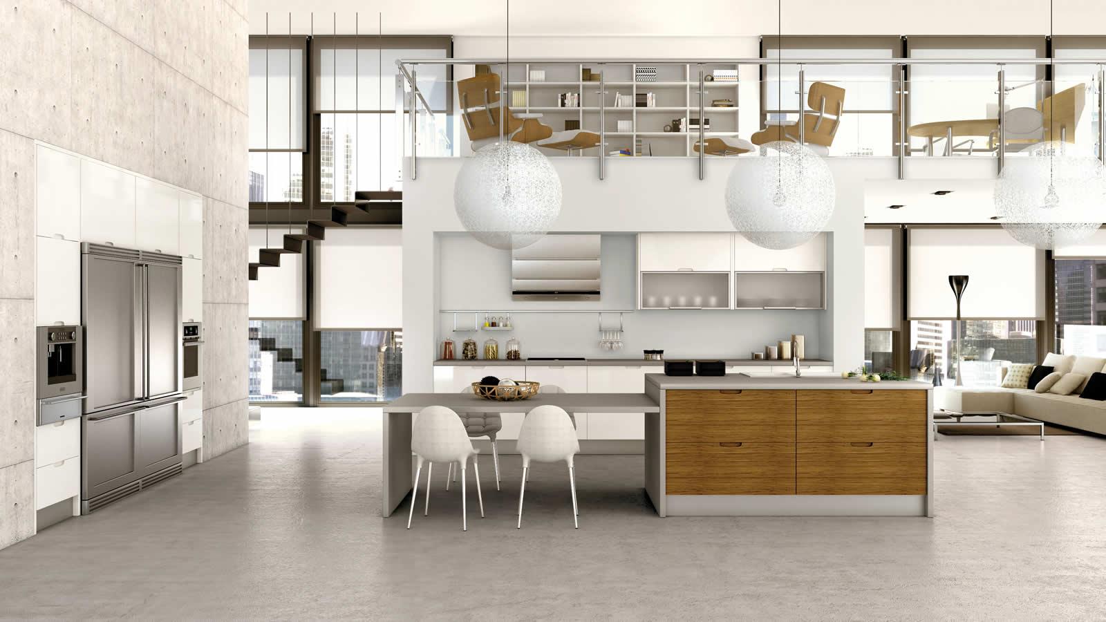 Muebles de cocina en lacado blanco y madera - Cocina de madera moderna ...