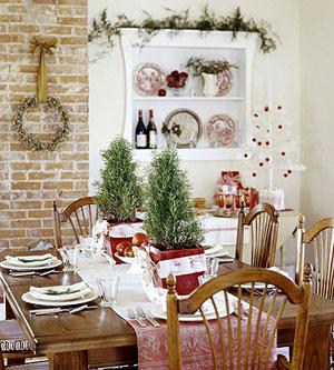 rojo, verde y blanco para decorar mesas