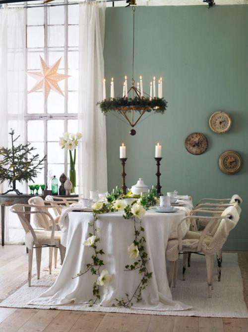Decoraci n de navidad fresca y natural para el comedor for Decoracion navidad piso pequeno