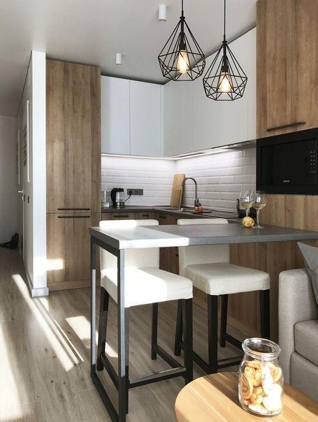 mix blanco y madera en cocinas abiertas al salon