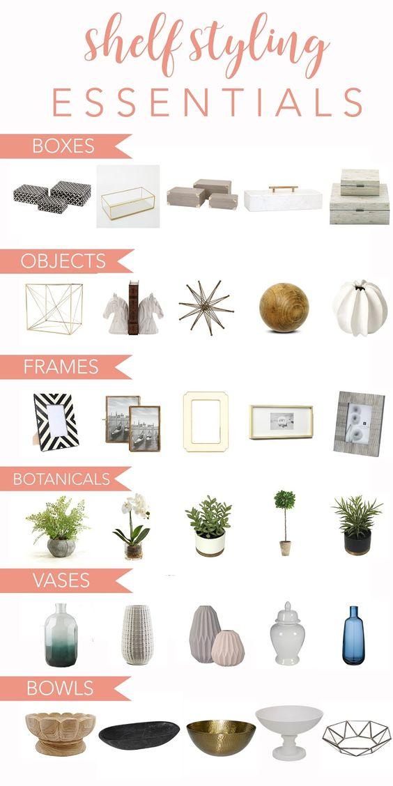objetos decorativos para una estantería