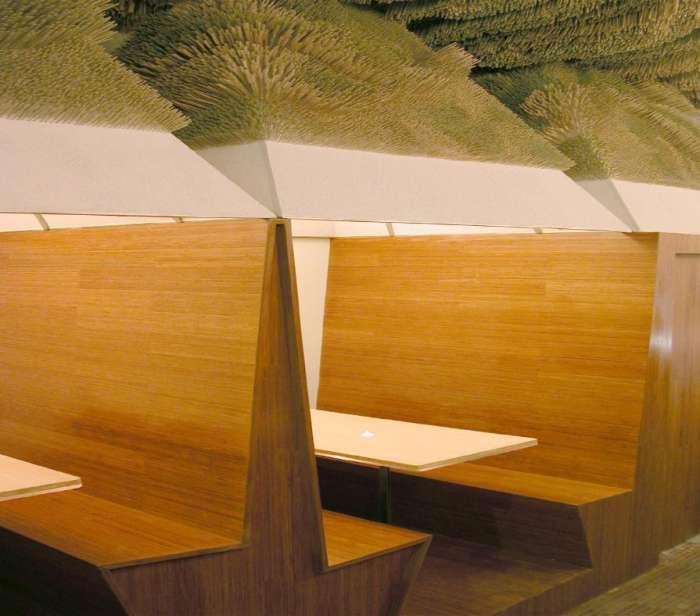 Techo Acústico elaborado con Bambú