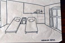 boceto habitacion con repisa casa rural