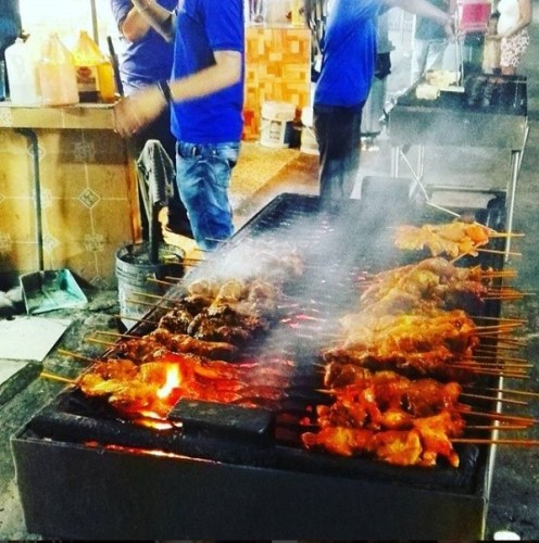 Pinchos - chicken skewers in Pinones