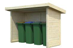 cobertizo contenedores de madera de Casas Carbonell para basura