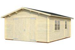 Garaje madera Roger 23.9 de Casas Carbonell con puertas cocheras abatibles de madera